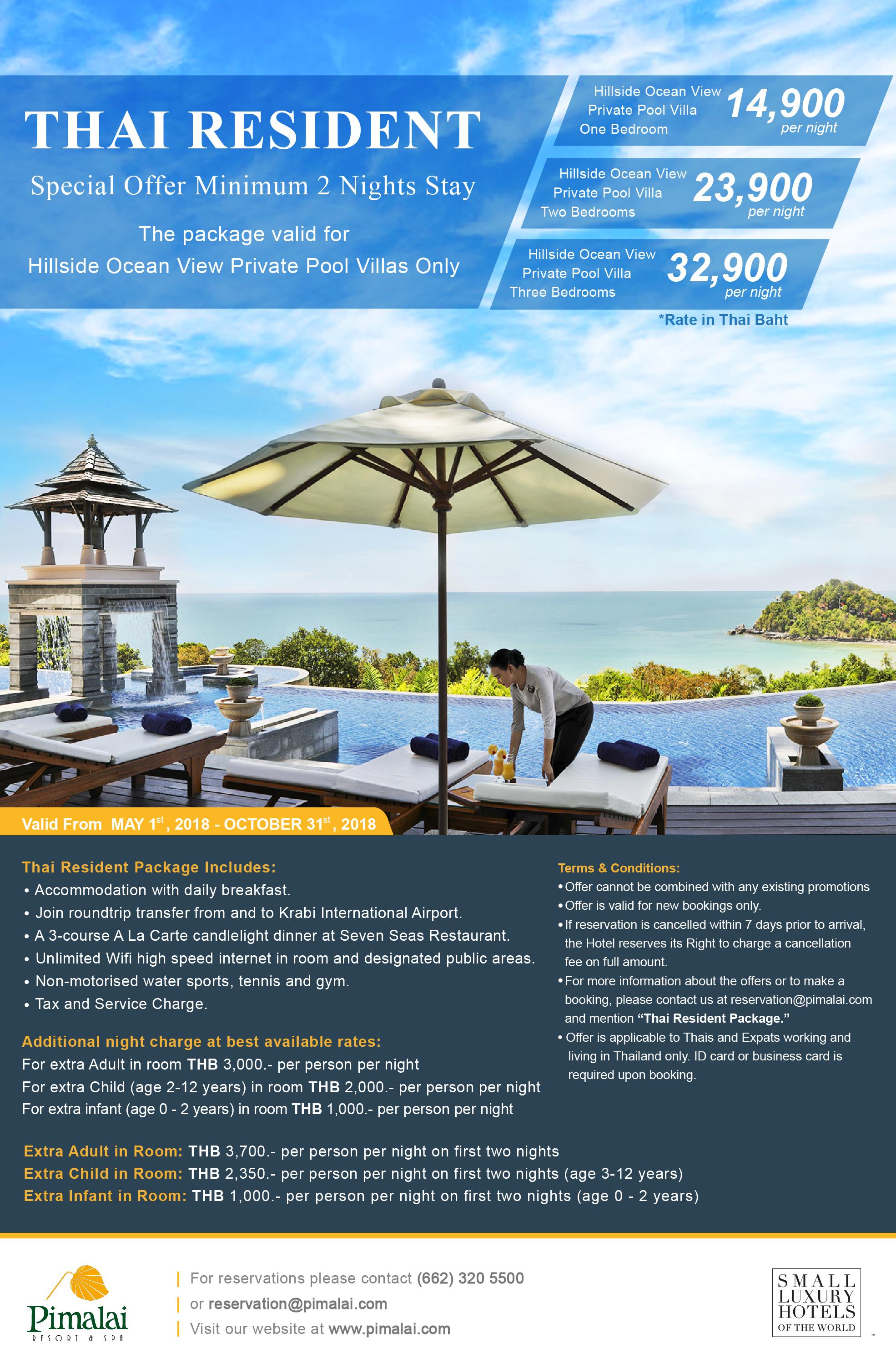 Thai Resident Package From 14 900 Baht Pimalai Resort